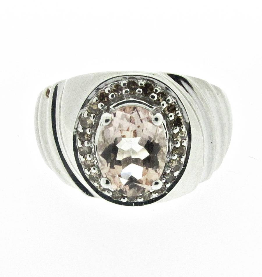 silver ring with morganite and chaigne diamonds size n