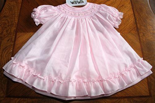Will'beth Sweet Newborn Infant Baby Girl Smocked Pink Dress Sz 0 12m NWT