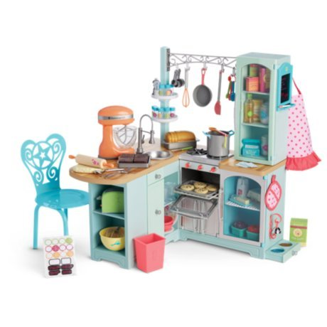 American girl gourmet kitchen set for doll beforever fast for Doll kitchen set