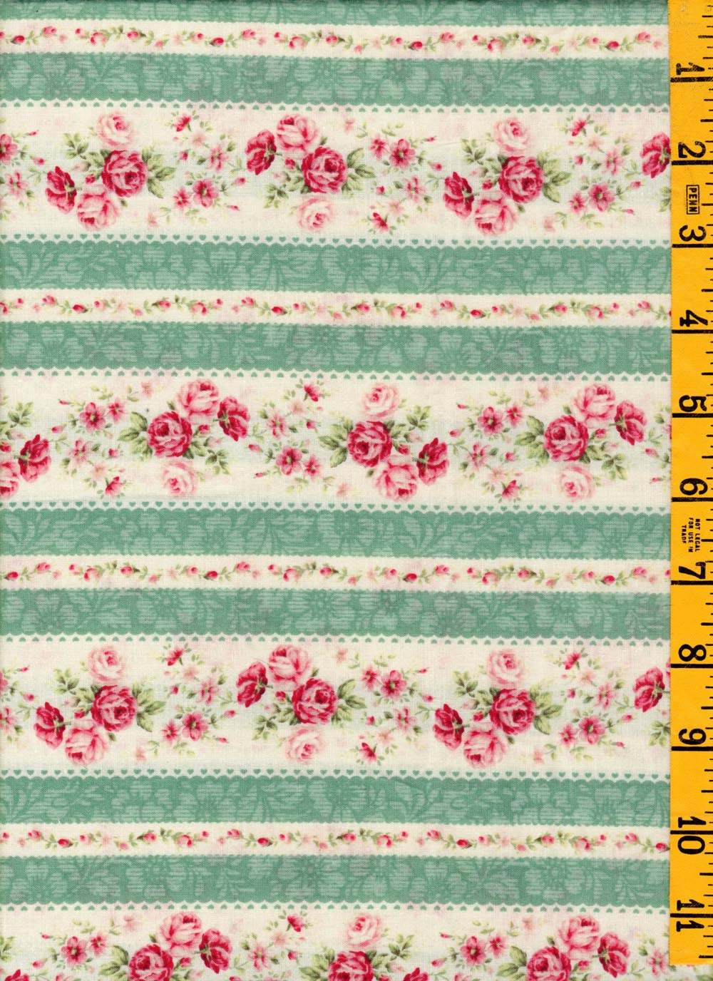 Quilt Patterns Using Stripe Fabric : New Cotton Quilting Sewing Fabric Quiltgate Multi Green Floral Stripe eBay